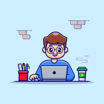 コーヒーと静止した漫画のベクトル図でラップトップに取り組んでいる男。