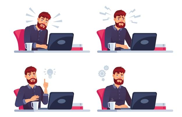 노트북에서 일하는 남자