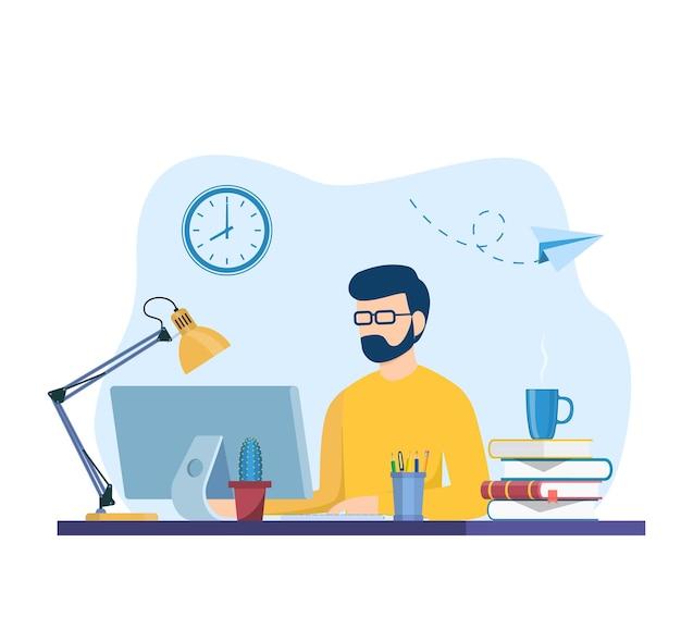 노트북에서 작업 하는 남자