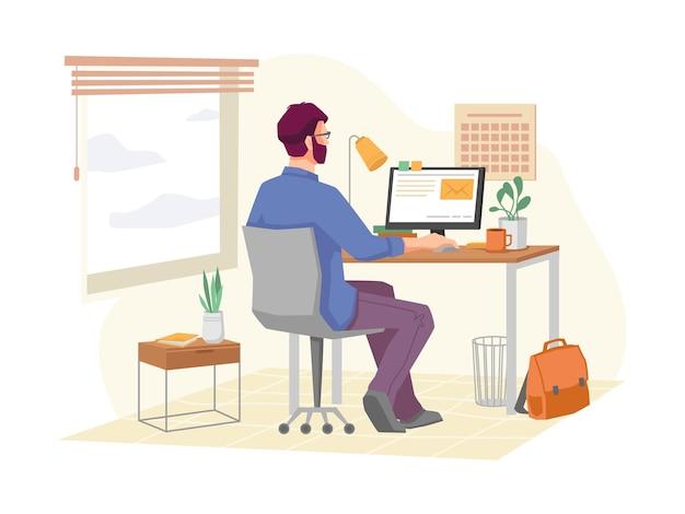 Человек, работающий над проектом удаленно в домашнем офисе