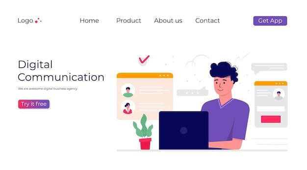 프로젝트에서 일하는 남자. 비즈니스 주제, 소셜 미디어 네트워크 및 디지털 통신 개념, 보고서, 전단지, 전단지, 광고, 브로셔를 위한 방문 웹 페이지 템플릿. 트렌디한 벡터 스타일
