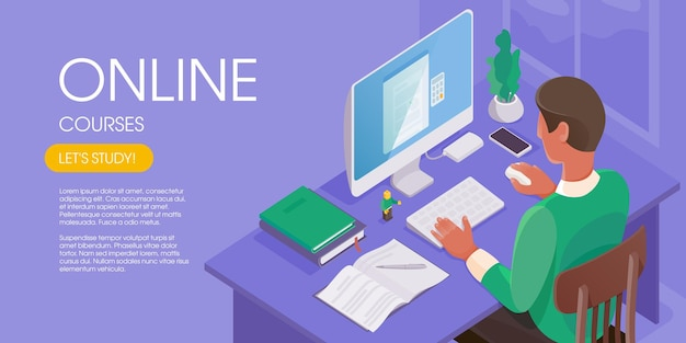 Man working online at the home office. character sitting at a desktop, looking at a computer screen. internet education concept. modern isometric vector illustration.