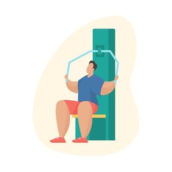 야외 체육관에서 운동하는 남자. 야외 스포츠 장비. 풀다운 기계를 사용하여 운동을 하는 남성 만화 캐릭터. 평면 벡터 일러스트 레이 션