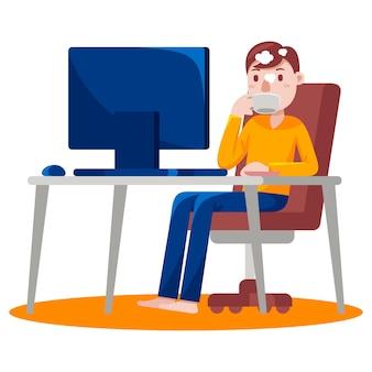 Человек, работающий с компьютером, попивая горячий кофе