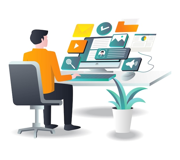 Man working with computer with app in isometric illustration