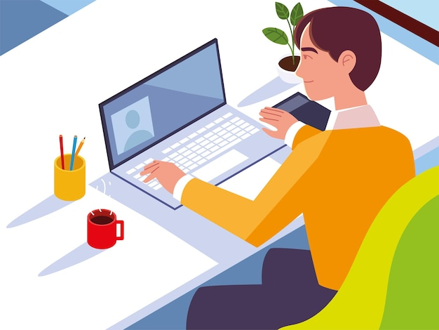 ノートパソコンのコーヒーカップと机の上の植物ワークスペースの図で作業する男