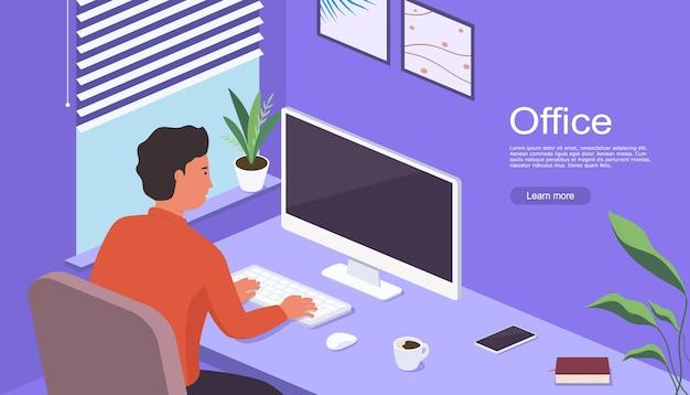 Человек работает дома, сидя за столом перед экраном компьютера. фрилансер, работающий на компьютере дома. концепция домашнего офиса возле окна.