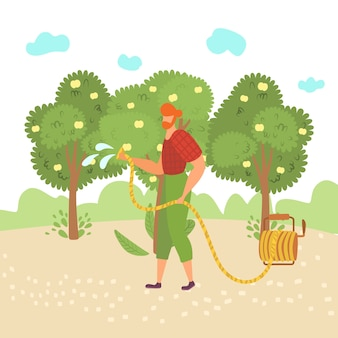 Man works garden, use tool, engage gardening, watering tree, work gardener outdoors,  in    illustration. eco planting, organic plants, green background, growing season.