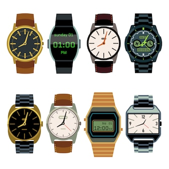 Man wrist watch flat vector set