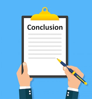 Man writes conclusion  paperwork, sheets in folder flat design
