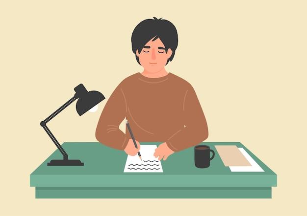 Человек пишет на бумаге за столом