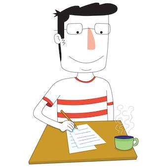 Man writes something on table