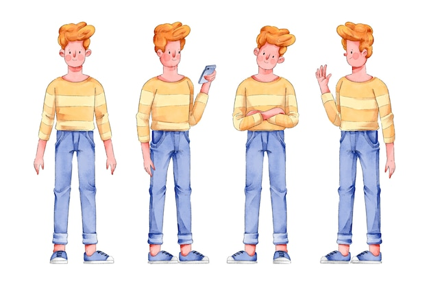 Man in yellow shirt character poses