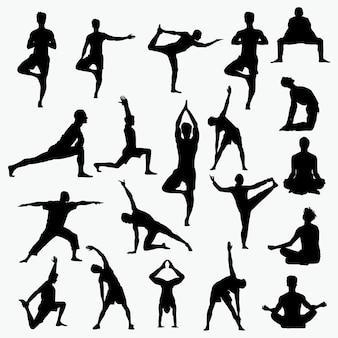 Силуэты йоги человека