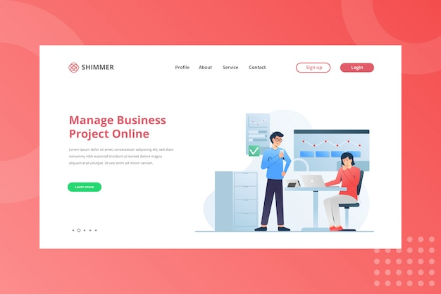 Manage business project online illustration for working from home concept on landing page