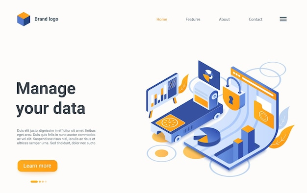 Manage data concept isometric landing page