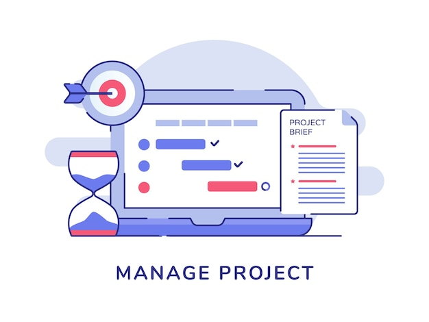 Manage project concept check list document on display laptop monitor hourglass target goal white isolated background