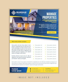 Manage properties flyer design template use vertical layout with combination blue and yellow