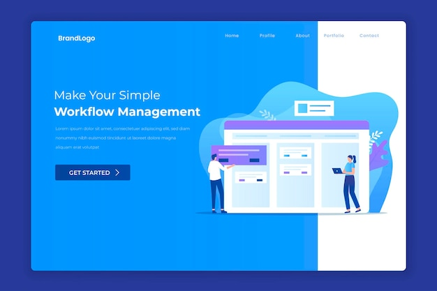 Manage workflow landing page concept Premium Vector