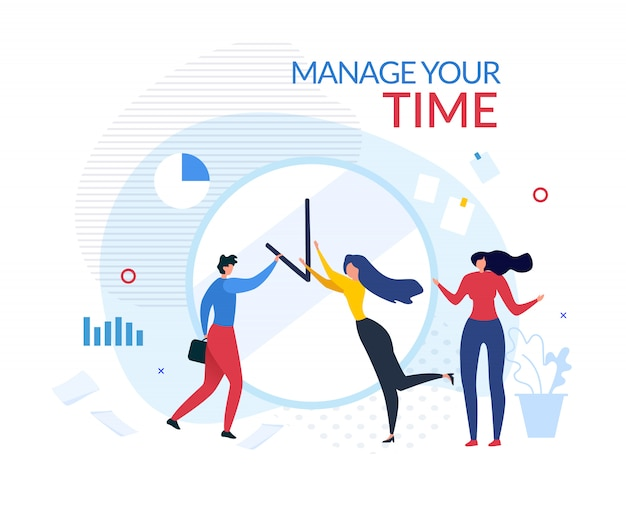 Manage your time motivation people cartoon banner