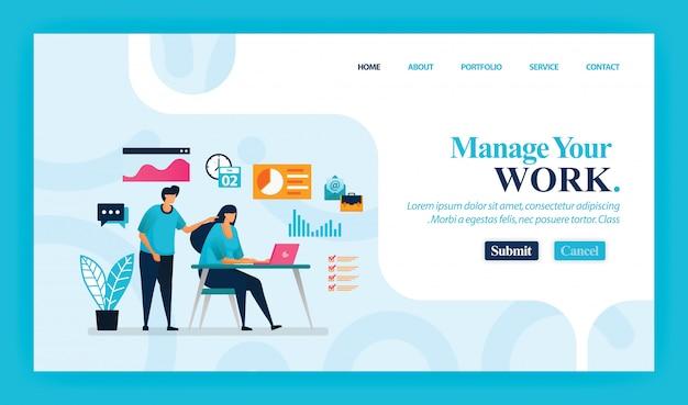 Manage your workのランディングページ。