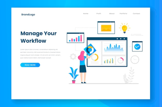 Manage your workflow landing page template