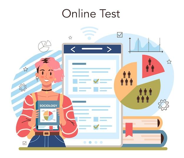 경영 및 사회 과학 학교 과정 온라인 서비스 또는 플랫폼. 인문교육. 온라인 테스트. 평면 벡터 일러스트 레이 션