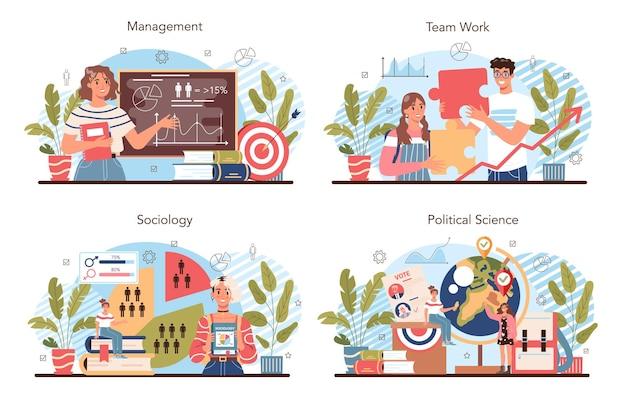 관리 및 사회 과학 학교 과정 집합입니다. 인문교육. 비즈니스 팀 작업 및 성공을 위한 전략에 대한 아이디어. 격리 된 벡터 일러스트 레이 션