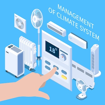 Management of climate system isometric composition with human hand setting temperature mode on control panel for air conditioner