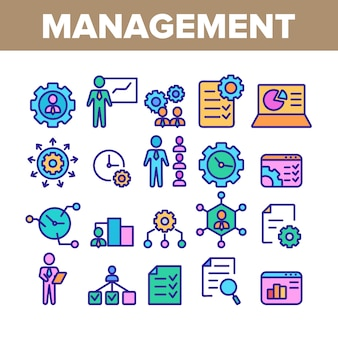 Management collection elements icons set