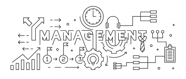 Management concept flat line design