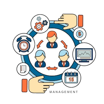 Management concept in flat line style