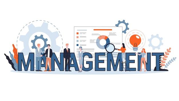 管理の概念。ビジネスのアイデアは、成功のための人と戦略と連携します。ワークフローの計画とブレーンストーミング。スタイルのイラスト