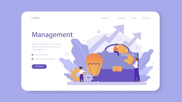 Management education school course web banner or landing page