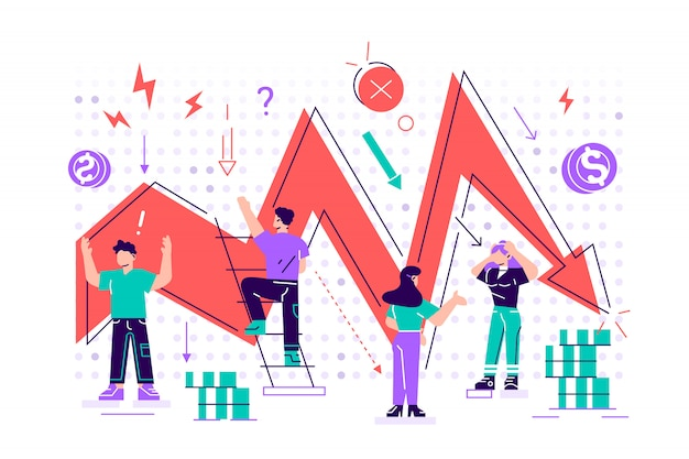 Management failed to achieve profit, sad business people around, business on falling down chart, arrow, business fail, risk, problem. flat style  design illustration concept for web page, poster