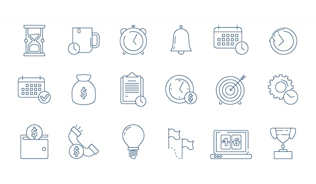 Management and finance elements linear icon set