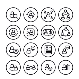 Management, human resources, hr line icons set on white