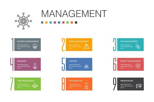 Концепция линии управления инфографики 10. менеджер, управление, организация, значки презентации