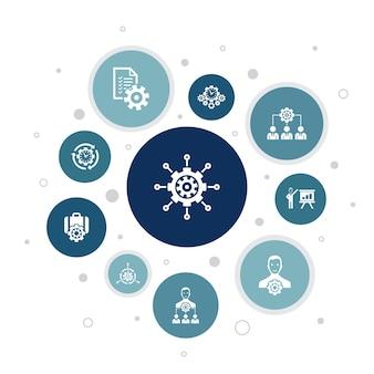 Управление инфографики 10 шагов пузырь дизайн. менеджер, управление, организация, презентации простые значки