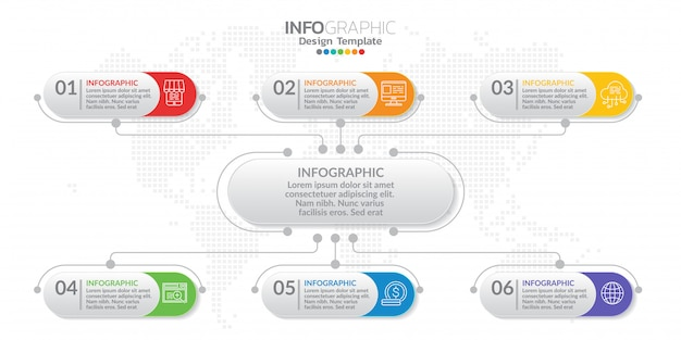 Management infographic template with number.
