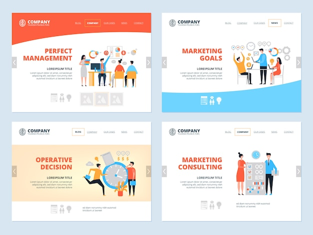 Management landing. business website page layout organization goal marketing consultants managers team workspace  landing