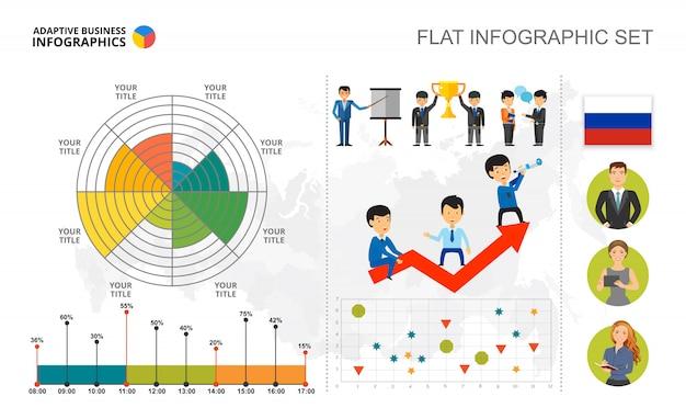 プレゼンテーションのための管理円、散布図および棒グラフテンプレート 無料ベクター