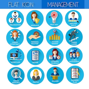 Management set business icon collection