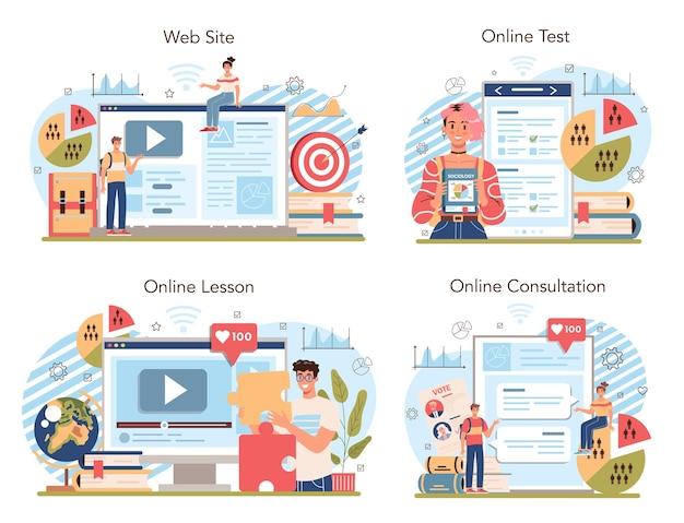 Management and social sciences school course online service or platform set. humanities education. online lesson, test, consultation, website. flat vector illustration