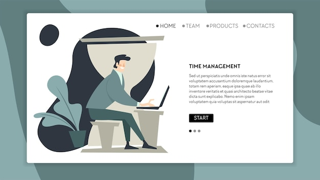Management of time and workflow, male working on laptop, solving corporate problems and tasks