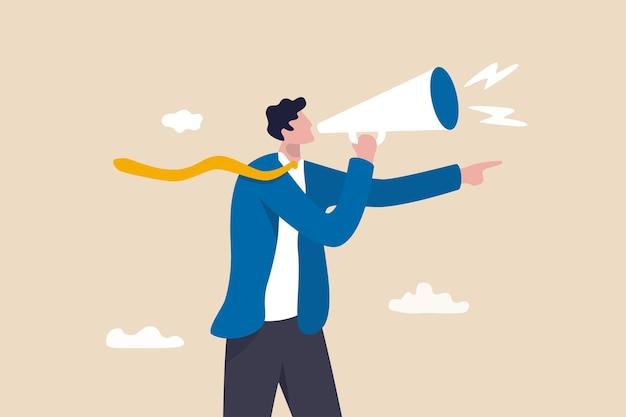 マネージャーの権限、作業命令、または従業員、上司、または政府の権力を支配するための命令が問題を引き起こし、ビジネスマンがメガホンで猛烈な叫び声を上げ、指を指しています。