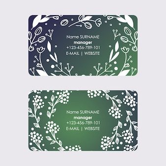 Manager business cards with wreaths leaves and flowers bloom of plant branches with blossom for romantic decor