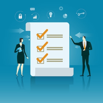 Manager checklist. business concept of success vector illustration.