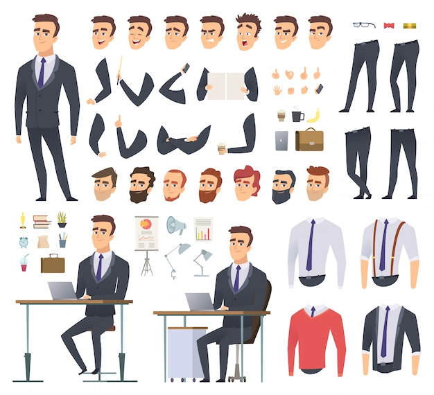 Manager creation kit. businessman office person arms hands clothes and items male character animation project
