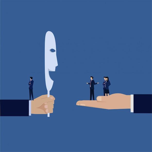 マネージャーは従業員を気にしませんが、2つの顔の笑顔のメタファーを置きます。